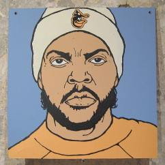 Ice Cube in a Baltimore Orioles knit cap